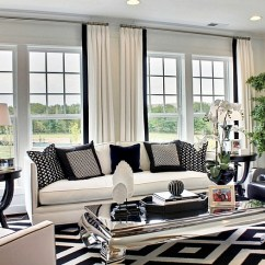 Dark Grey And White Living Room Ideas Silk Curtains For Black Rooms Design View In Gallery Bold Pattern Of The Rug Throw Pillows Drive Home Color