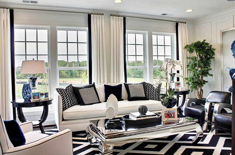 living room pictures black and white wall colors with dark wood floors rooms design ideas view in gallery bold pattern of the rug throw pillows drive home color