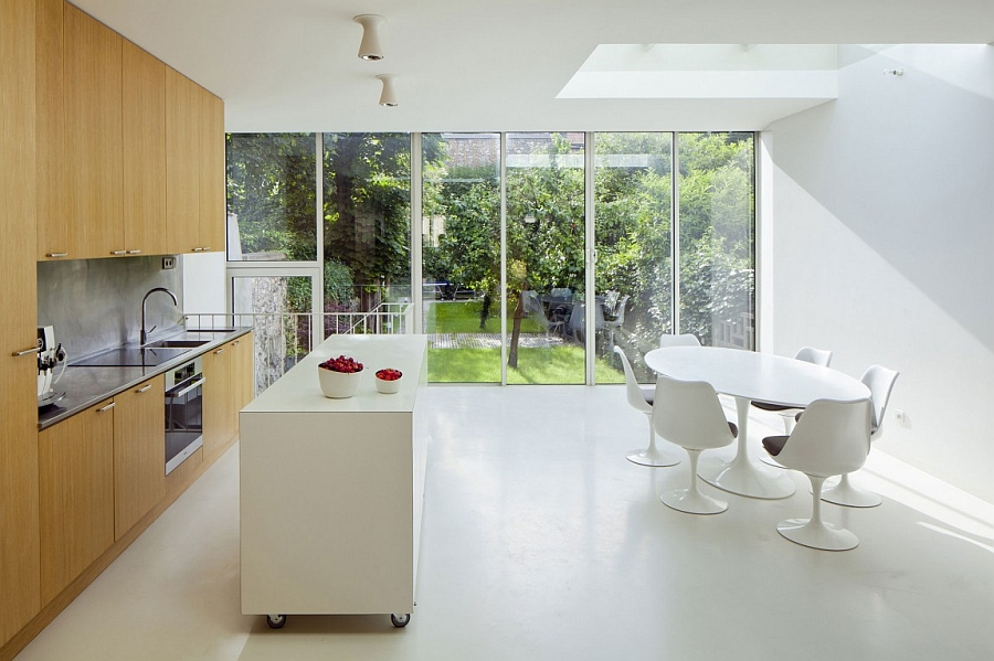 mobile island kitchen round wooden table islands ideas and inspirations view in gallery contemporary all white