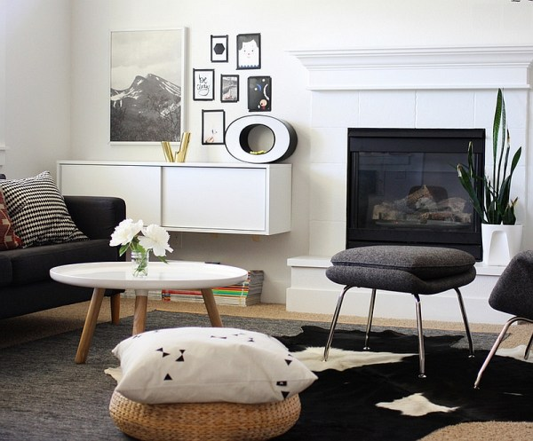 black white and gray living room Black And White Living Rooms Design Ideas