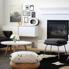 Living Room Pictures Black And White Corner Fireplace Arrangement Rooms Design Ideas View In Gallery Contrasting Textures Bring A Hint Of Playfulness To The