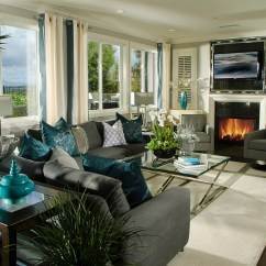 Teal Decorating Ideas For Living Room Large Rug Hot Color Trends Coral Eggplant And More View In Gallery Exquisite Use Of Accents Throughout The Stunning By Possibilities Design