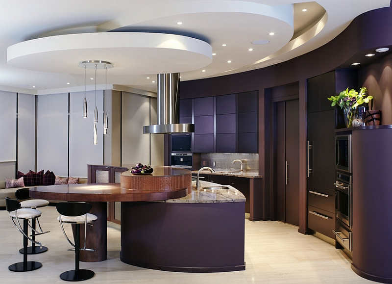 Give your contemporary kitchen a touch of finesse with eggplant walls Hot Color Trends: Three Fashionable Hues That Serve You All Year Long Year Trends Three Serve Long Hues Fashionable Color