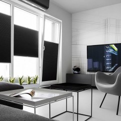 Grey Kitchen Chairs Replacement Chair Feet Wood Small Black And White Apartment In Poland Exudes Refined Minimalism