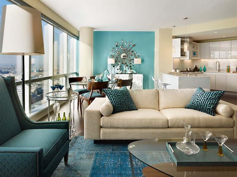 Multiple shades of teal and an accent wall that borders on auqa Hot Color Trends: Three Fashionable Hues That Serve You All Year Long Year Trends Three Serve Long Hues Fashionable Color
