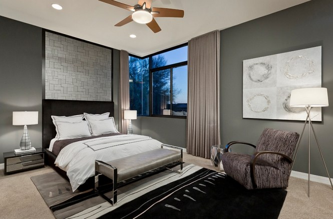 View In Gallery Refined Use Of Gray And Lighting The Bedroom