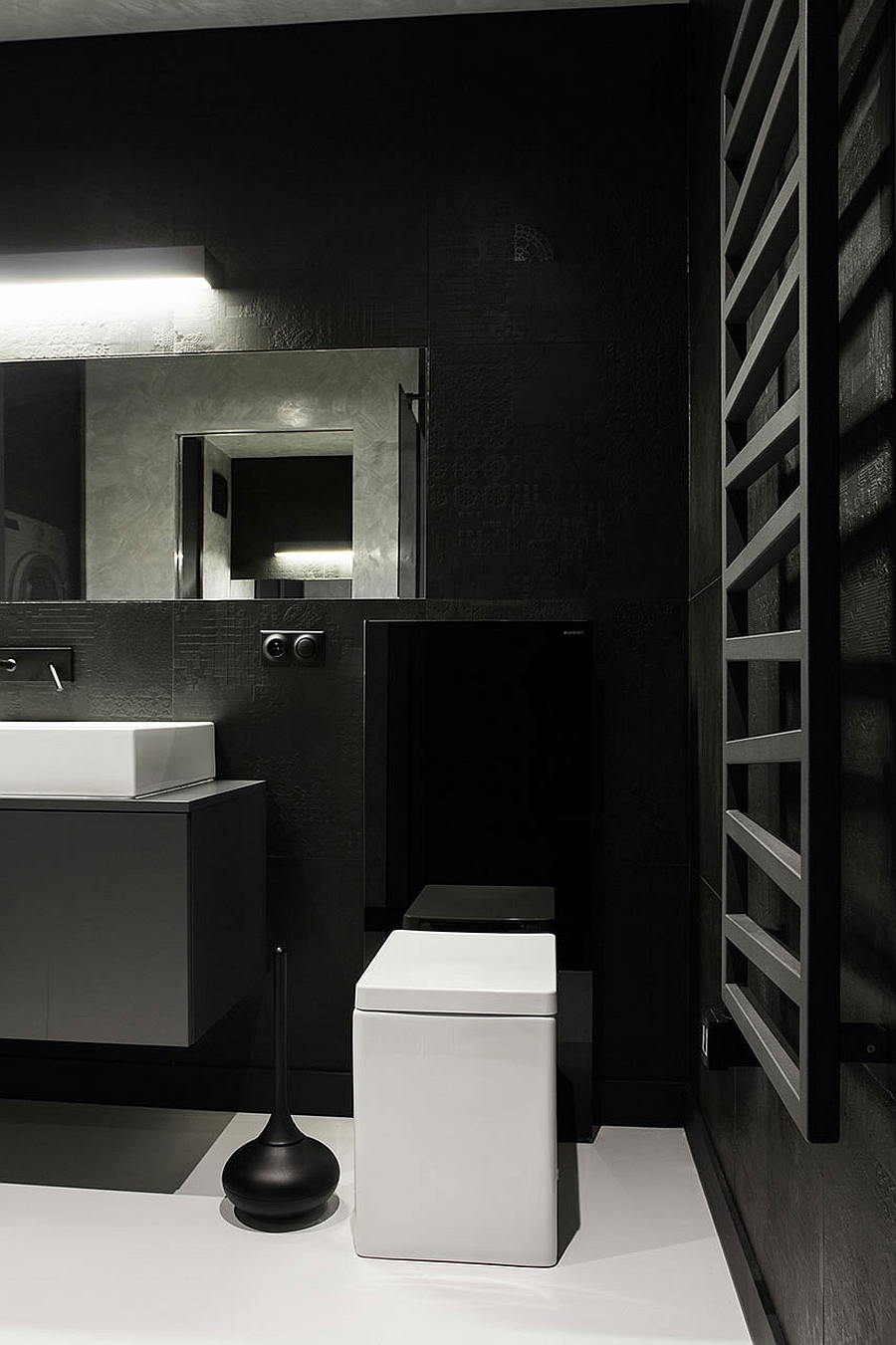 small kitchen ideas pictures sink spray hose replacement black and white apartment in poland exudes refined ...