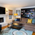Touch of yellow for the posh masculine living room design