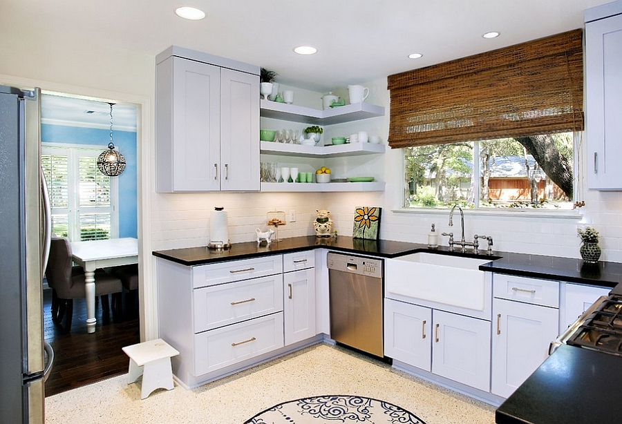 kitchen corner shelves solid wood shaker cabinets decorating ideas tips space saving solutions view in gallery chic modern with cool floating design ub kitchens