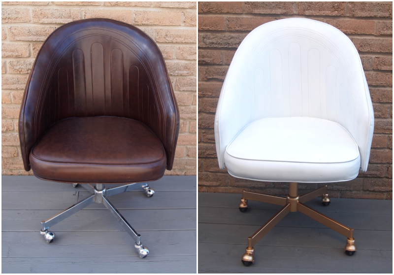 desk chair diy flip sleeper chic painted leather office view in gallery before and after the transformation