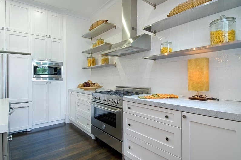 metal kitchen shelves zester tool add sleek shine to your with stainless steel view in gallery shades of yellow on open shelving