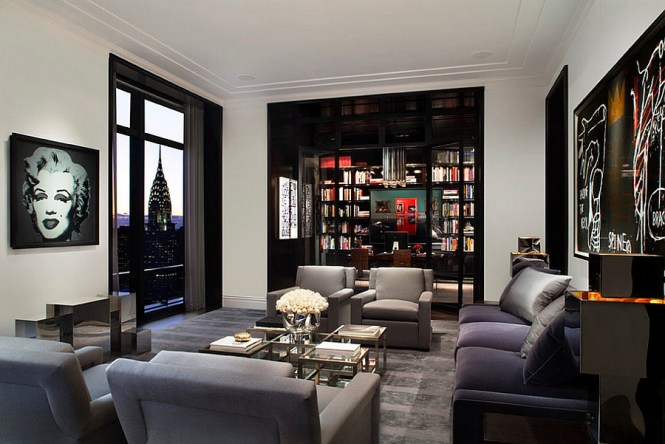 Living Room Gray With The Walls Of Stylist Carlos Motas New York City Home Are Painted