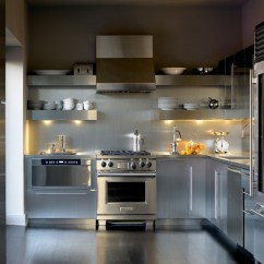 Stainless Kitchen Replacing Sink Sprayer Hose Add Sleek Shine To Your With Steel Shelves View In Gallery Open Shelving