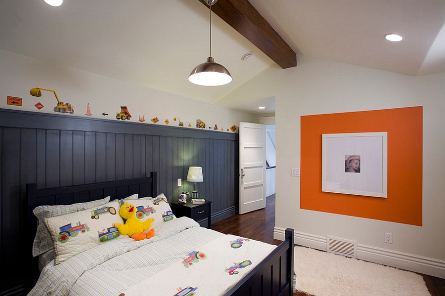 orange and black interiors living