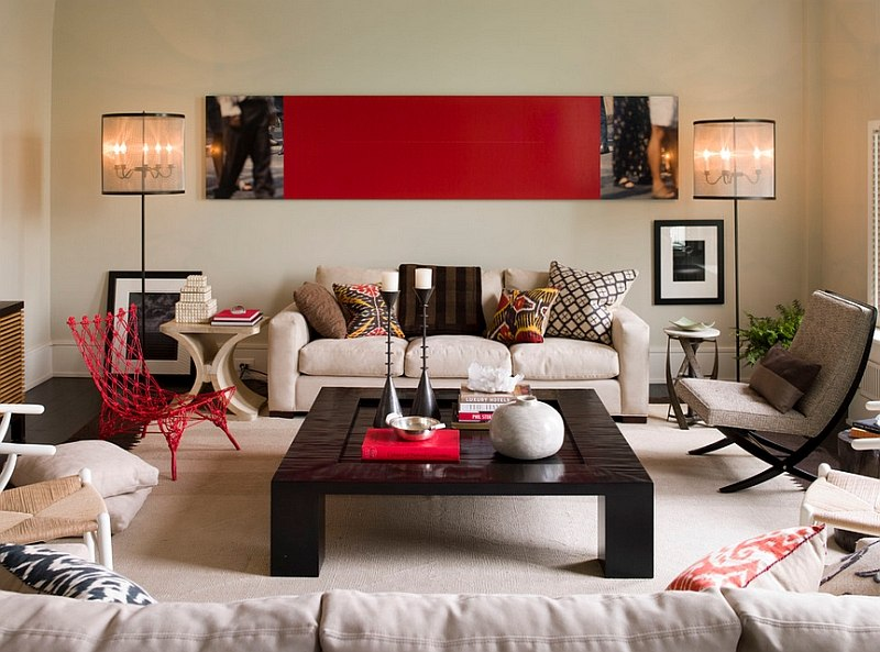 living room decor red paint colour ideas rooms design decorations photos view in gallery contemporary with smart use of accents thom filicia