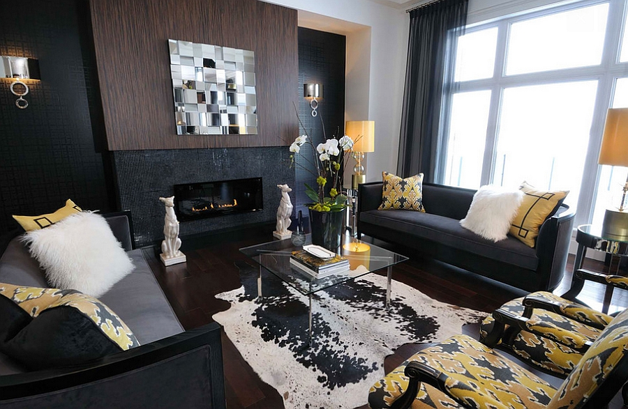gold and grey living room ideas curtain design for 2017 20 yellow trendy modern inspirations interesting accents add cheerful elegance to the dark by atmosphere interior
