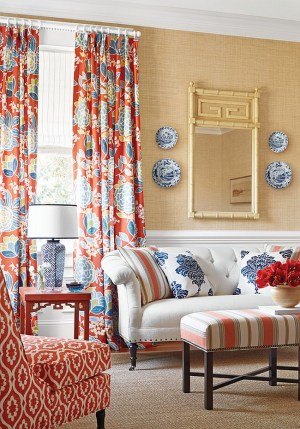 yellow living rooms thibaut natural decor curtains orange navy pattern colors mix dining curtain modern brings patterns mixing designs fabric