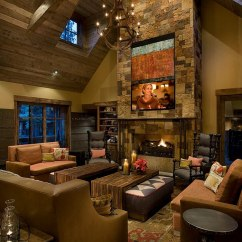 Cabin Style Living Room Apartment Decorating Ideas 30 Rustic For A Cozy Organic Home Placing The Tv High Up Works In Large Rooms With Ample Space Design