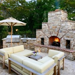 Outside Kitchen Free Standing Units Designing The Perfect Outdoor Stone Fireplace Next To And A Lovely Lounge By Bruce Palmer