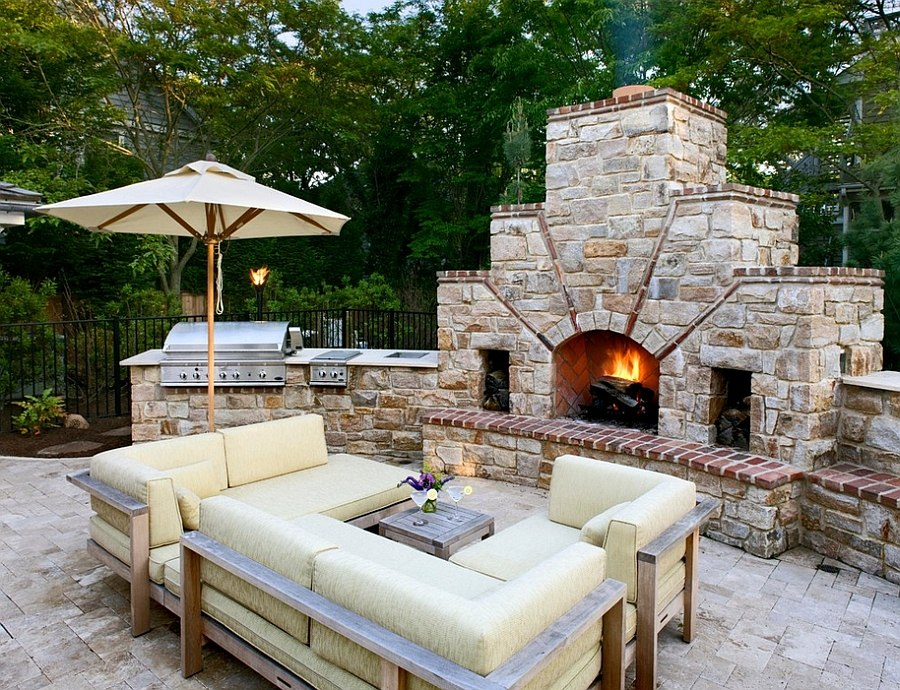 outside kitchen island on wheels with seating designing the perfect outdoor stone fireplace next to and a lovely lounge by bruce palmer