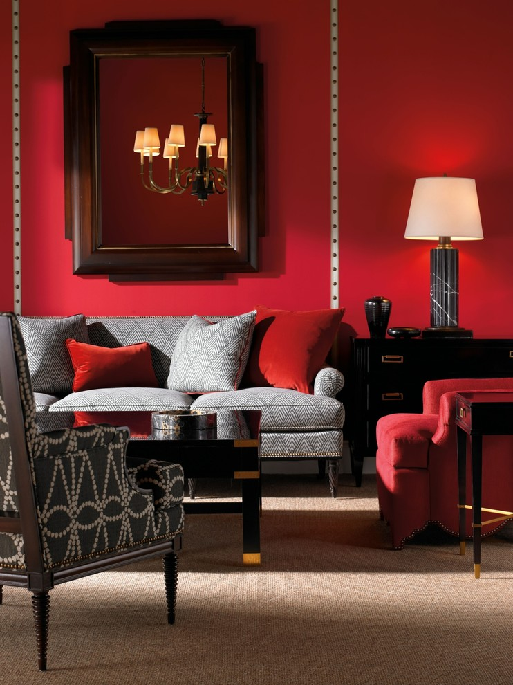 Red Living Rooms Design Ideas Decorations Photos