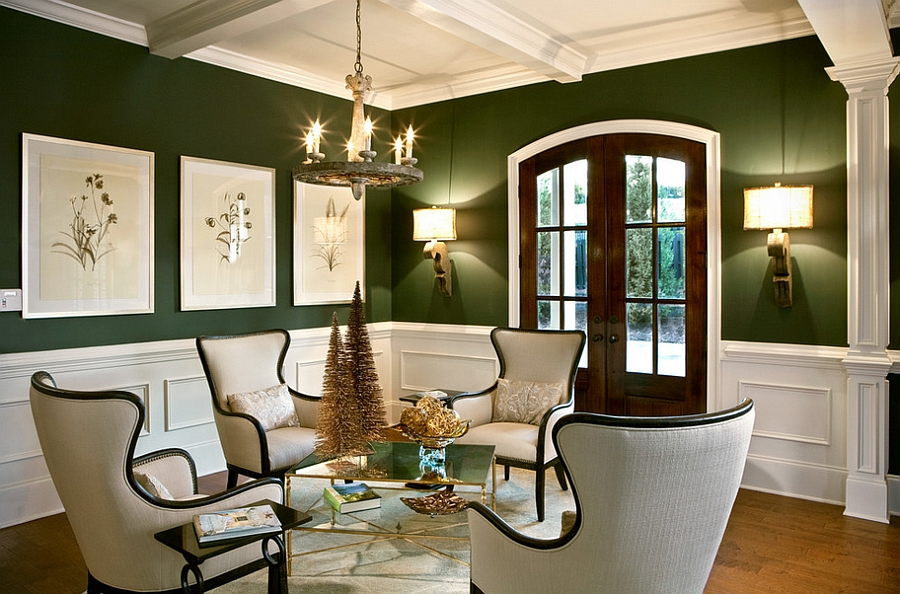 green living room walls sets ashley furniture 25 rooms and ideas to match view in gallery a that seems perfect for the holiday season ahead design lgb