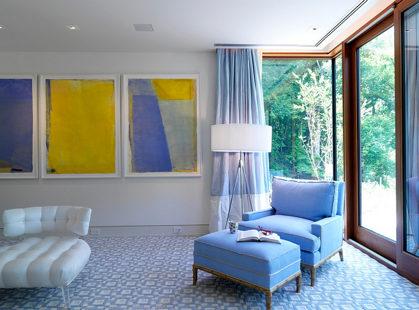 decorating with light yellow walls living room led bulbs for and blue interiors rooms bedrooms kitchens artwork brings bright into this luxurious bedroom design ziger snead architects