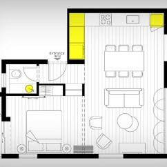 Gray And Yellow Living Room Images Trunk For Smart Modern Renovation Transforms Small Urban Apartment