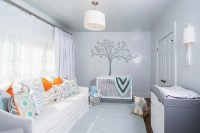 Orange, grey and teal in the nursery - Decoist