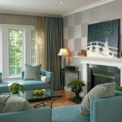 Wallpaper For Living Room Ideas Grey Turquoise Orange 20 Rooms With The Textural Beauty Of Grasscloth Squares Applied In A Checkboard Pattern Design Laurie Gorelick Interiors
