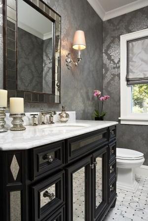 powder silver gorgeous bathroom wall decorating grey vanity gray decor houzz walls modern bath paper dark interior elsie bathrooms idea