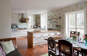 kitchen dining elegant living wall space modern decor island open walls contemporary rustic ikea eclectic chic papered