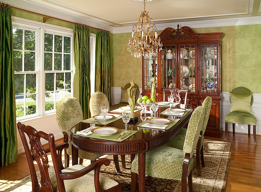 green dining room table and chairs stackable banquet canada how to use create a fabulous exquisite of wallpaper in the cozy design rachel bauer