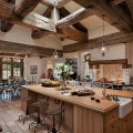 Fabulous kitchen with exposed wooden ceiling beams design calvis