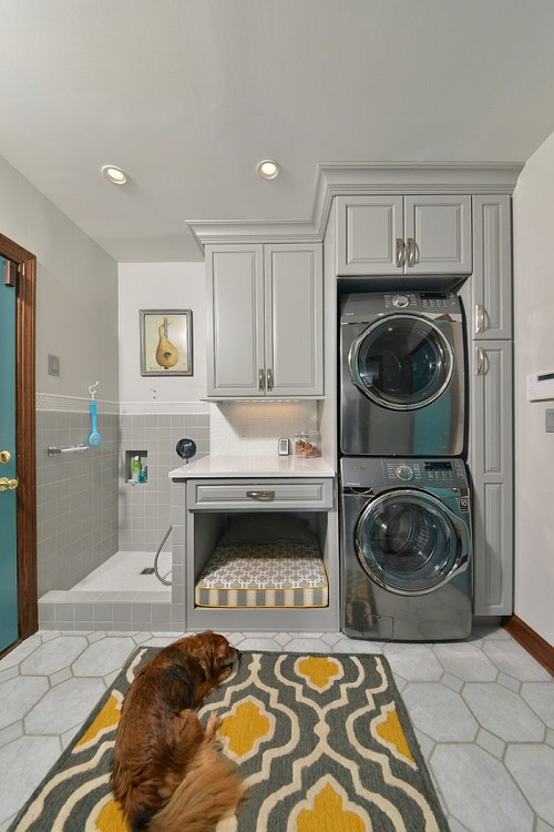 Laundry Room Design Gray Tile Dog Shower in Laundry Room with Dog Bed