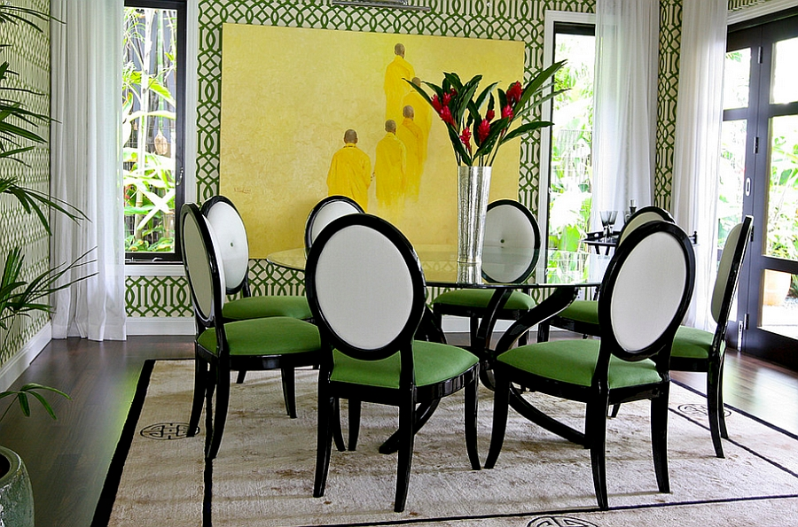 green dining room table and chairs how to cover a chair seat use create fabulous view in gallery imperial trellis wallpaper brings the walls alive design intervention