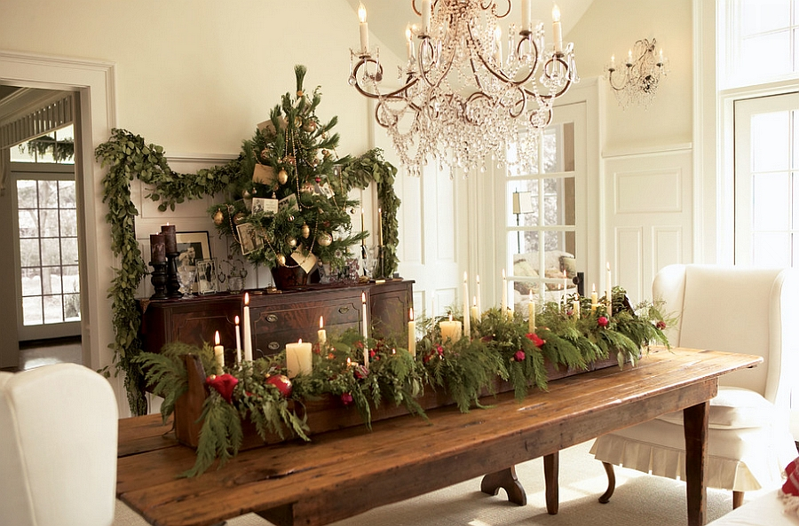 decoration ideas for living room table ceiling lights philippines 21 christmas dining decorating with festive flair natural centerpiece steals the show design laurel ulland architecture