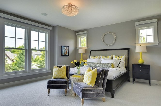 View In Gallery Stunning Living E With Platinum Silk Dries Charcoal Grey And Golden Yellow Decor Gray