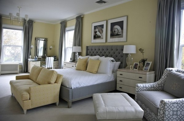 yellow and grey master bedroom Cheerful Sophistication: 25 Elegant Gray and Yellow Bedrooms