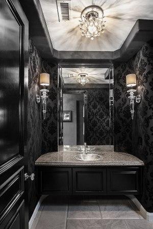 powder contemporary dramatic interior orange chic bathroom bathrooms designs bath