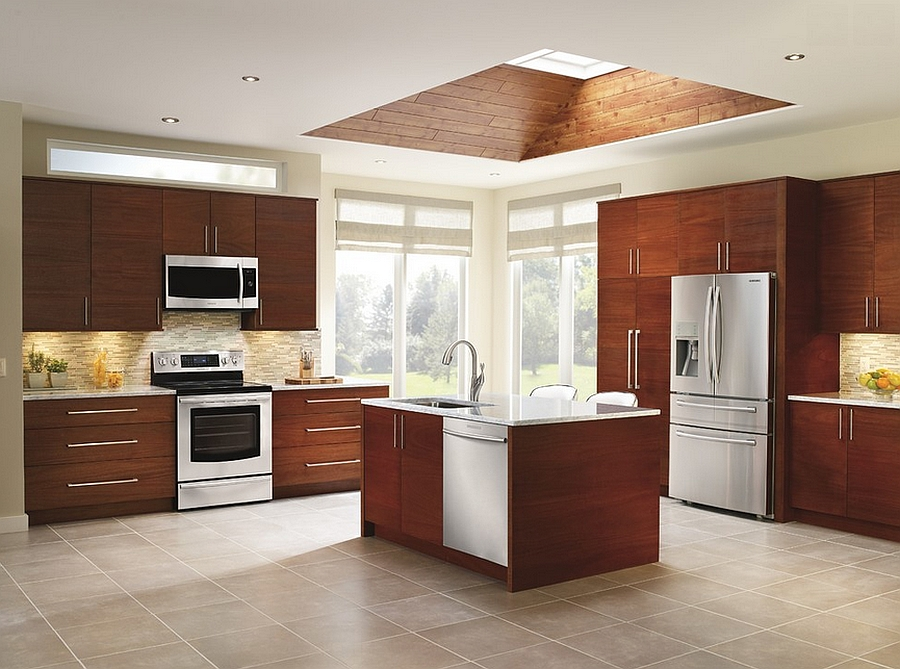 kitchen skylights storage pantry cabinet 25 captivating ideas for kitchens with view in gallery innovative finish around the skylight elevates its appeal from samsung