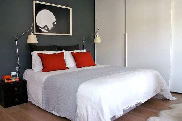 red accent bedroom Polished Passion: 19 Dashing Bedrooms in Red and Gray!