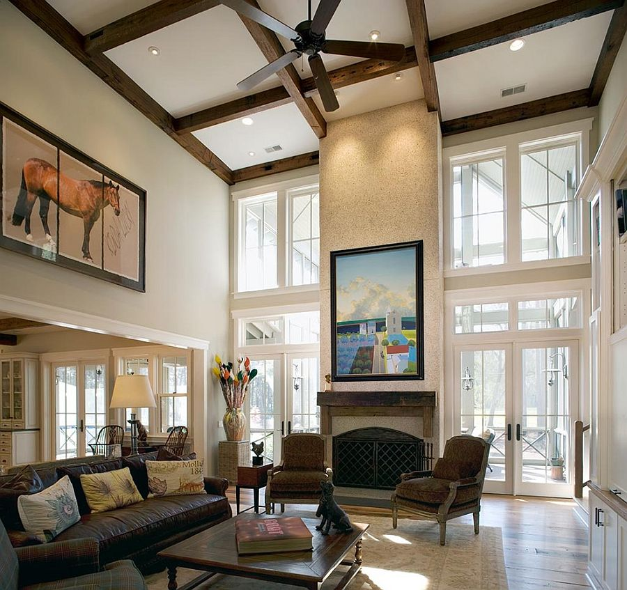 high ceiling living room decor ideas shelving units for sizing it down how to decorate a home with ceilings beams and wall art combine give the stunning ambiance