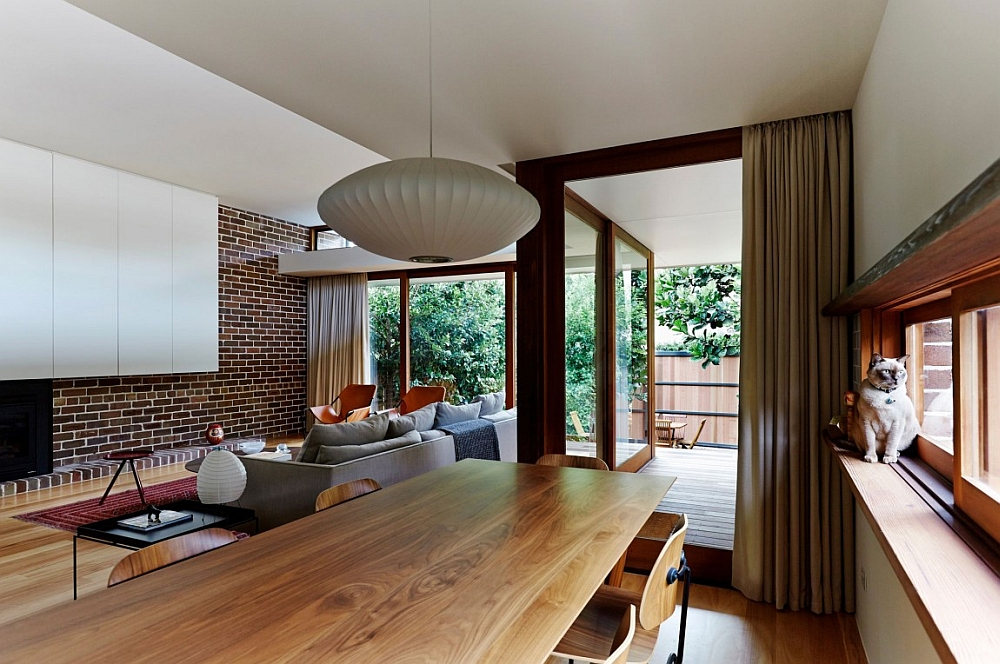 modern kitchen wall decor distressed island neutral bay house in sydney with midcentury flair