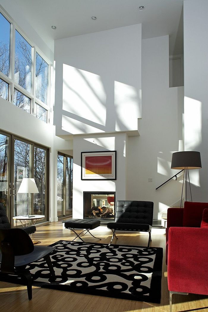 lighting ideas for living room high ceiling wide chairs sizing it down how to decorate a home with ceilings tripod floor lamp in the corner adds elegance space design ruhl walker
