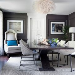Living Room Designs With Grey Walls Old Fashioned Furniture 25 Elegant And Exquisite Gray Dining Ideas View In Gallery Dark Royal Blue Accents The Classy Design Green
