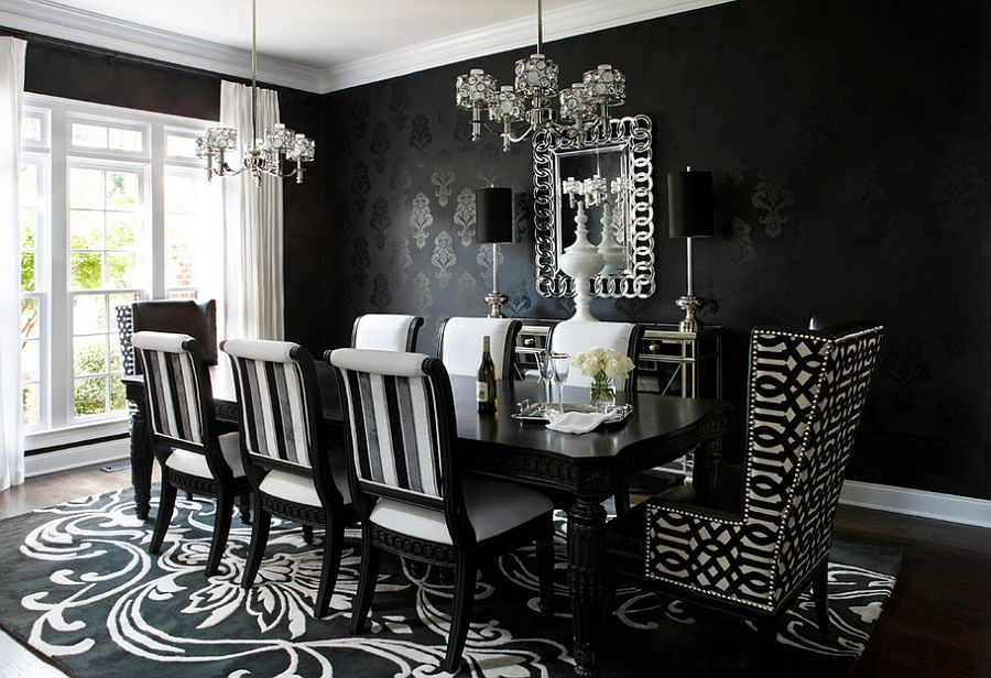 black dining room chair covers for rent in toronto how to use create a stunning refined wallpaper craft dazzling dark backdrop the design kristin