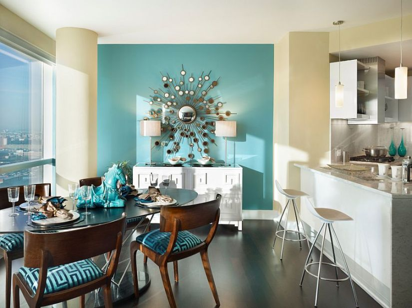 A splash of turquoise for the contemporary dining room [Design: Gacek Design Group]