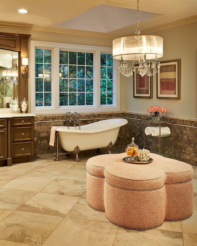 Bathroom Sconces Complement The Oversized Crystal And Shade Chandelier Design Driggs Designs