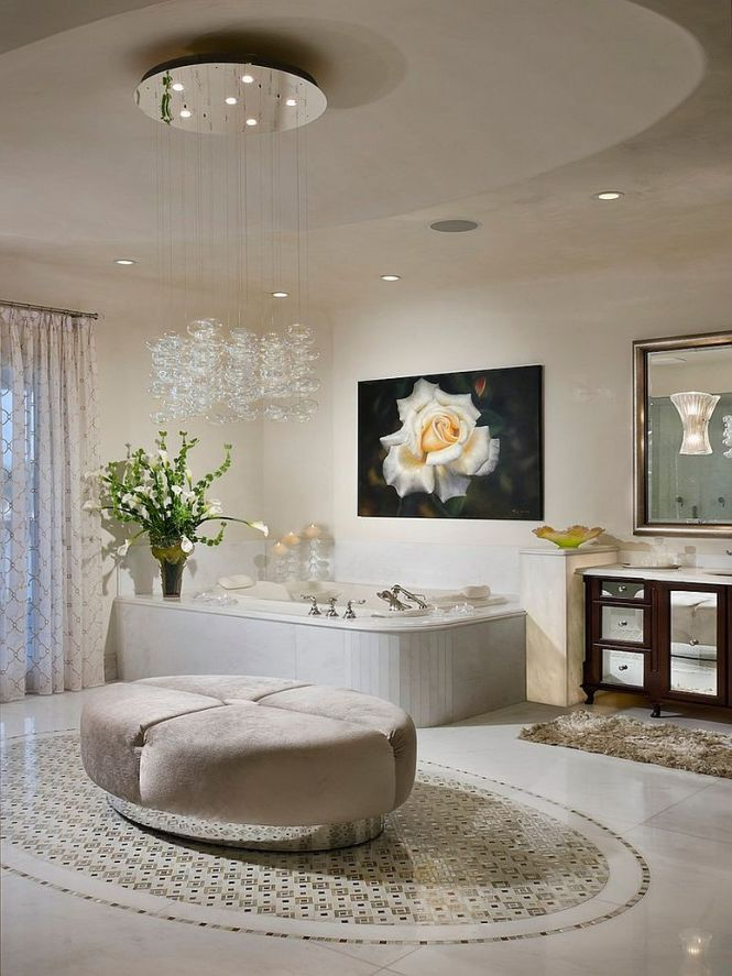 View In Gallery Beautiful Cascading Chandelier Enlivens The Contemporary Bathroom Design W A Bentz Construction